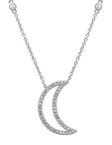 CRISLUPlatinum and Cubic Zirconia Moon Pendant Necklace