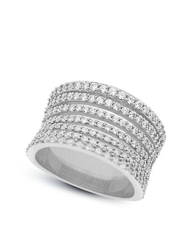 CRISLU Platinum and Cubic Zirconia Stacked Ring