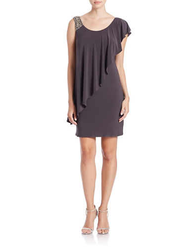 BETSY & ADAMEmbellished Asymmetrical Overlay Dress