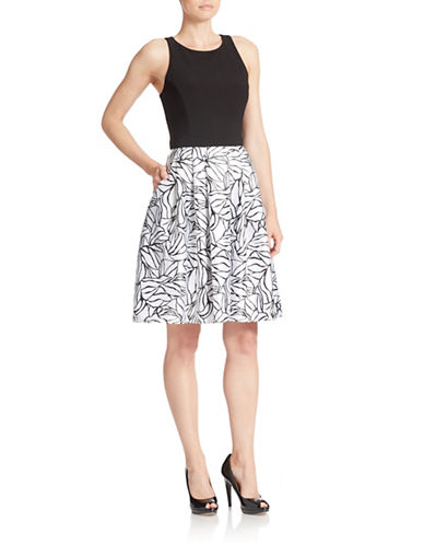 BETSY & ADAMPrinted Skirt Fit-and-Flare Dress