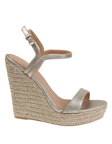 BADGLEY MISCHKAKleo Metallic Suede Wedge Sandals