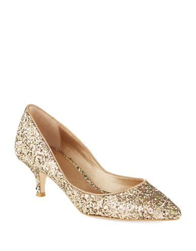 BELLE BY BADGLEY MISCHKA Puma Glitter Kitten Heels