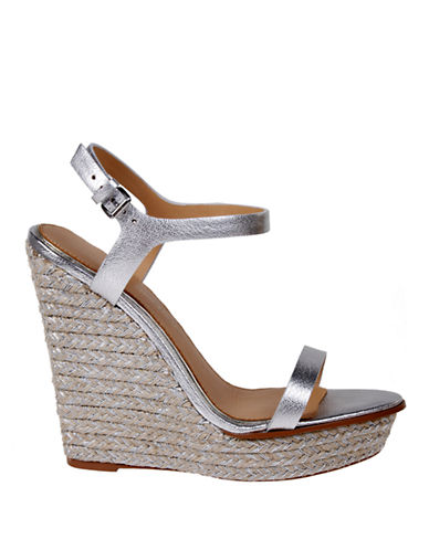 BADGLEY MISCHKA Glenna Leather Espadrille Wedge Sandals