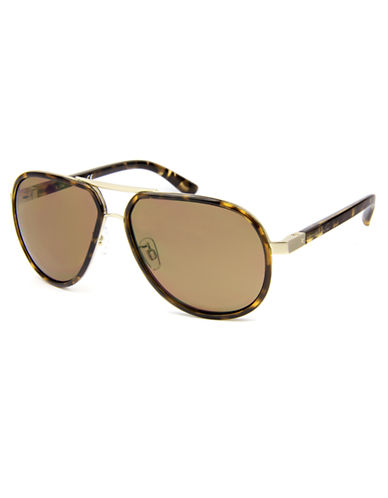 KENNETH COLE NEW YORK Rubberized Metal Aviator Sunglasses