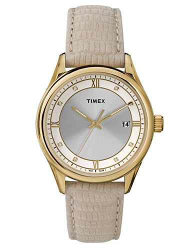 TIMEXLadies Gold Tone Round Watch with Embossed Leather Strap