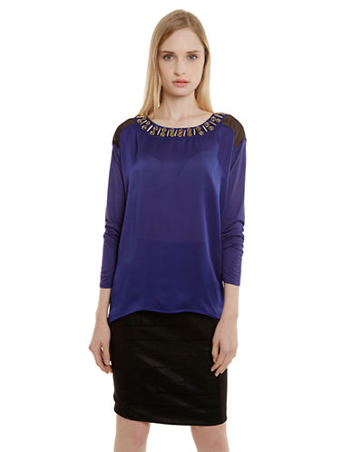 CLUNY Silk-Front Jeweled Blouse