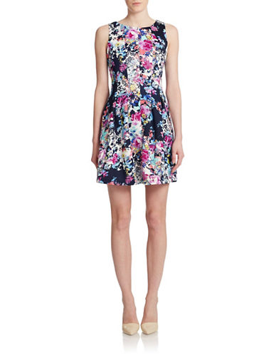 Gabby Skye Floral Fit-and-Flare Scuba Dress