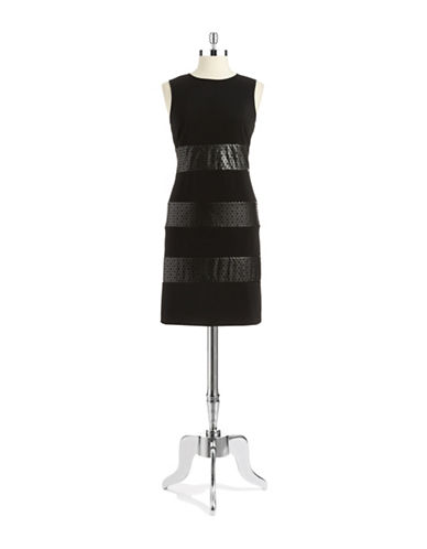 Shop Gabby Skye online and buy Gabby Skye Faux Leather Accented Shift Dress dress online