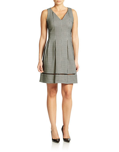 Shop Taylor online and buy Taylor Mesh Insert Printed Dress dress online