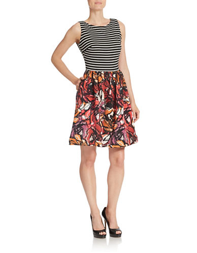 TAYLORStriped and Floral Print Fit-and-Flare Dress