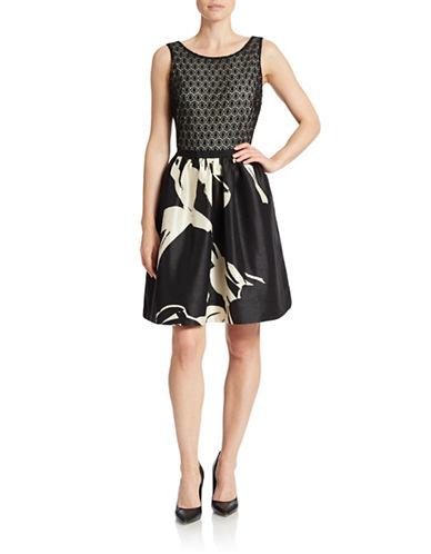 TAYLORLace And Satin Fit-And-Flare Dress