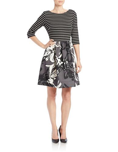TAYLORThree-Quarter Sleeve Fit-and-Flare Dress