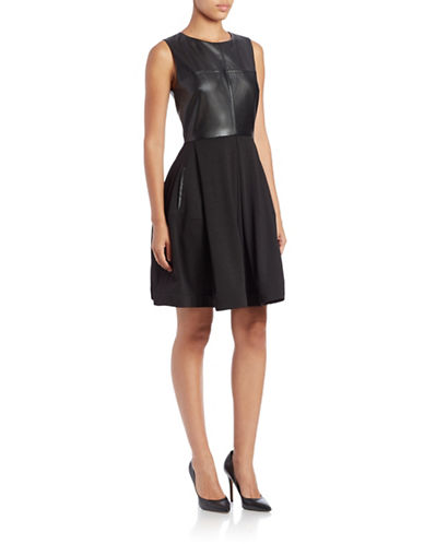 TAYLORFaux-Leather Bodice Fit-and-Flare Dress