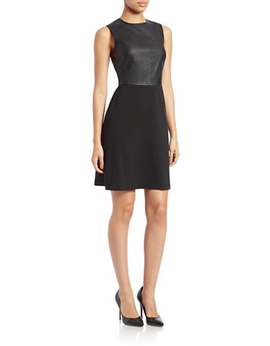 GABBY SKYEFaux Leather-Bodice Fit-and-Flare Dress