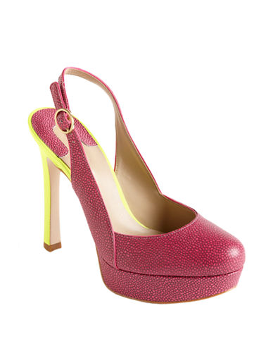 JOAN AND DAVID Queenies Leather Slingback Platform Pumps