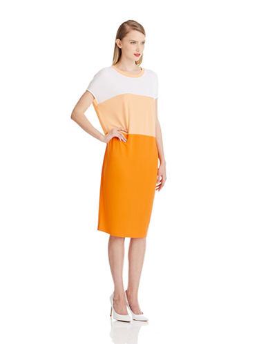 DKNYColorblocked Asymmetrical Dress