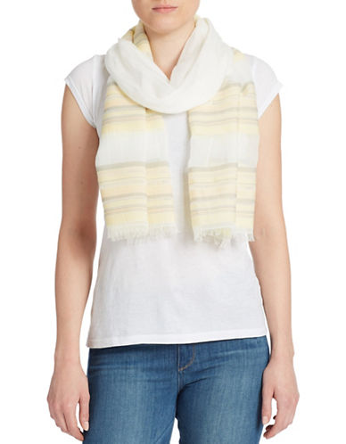 DKNY PURE Striped Cotton Scarf