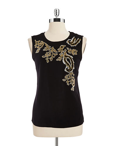 DKNYSleeveless Embroidered Top