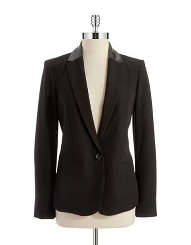 DKNYCFaux Leather Collared Blazer