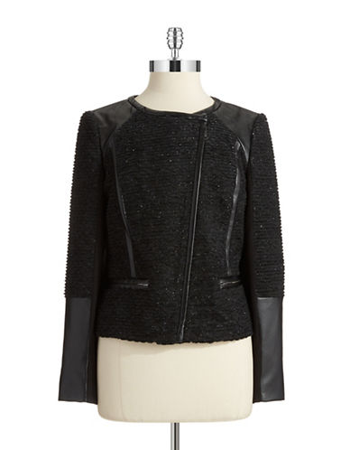 DKNYC Faux Leather and Metallic Jacket