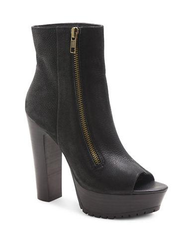 KENSIEJennica Leather Peep Toe Platform Ankle Boots