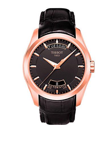 TISSOTMens Couturier Black Automatic Leather Strap Watch
