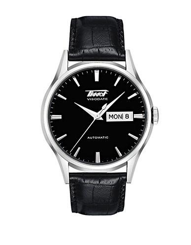 TISSOTMen's Visodate Black Automatic Leather Strap Watch