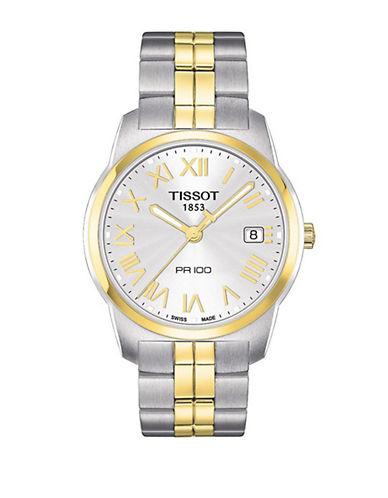 TISSOTMens PR 100 Silver Bi-Color Quartz Sport Watch