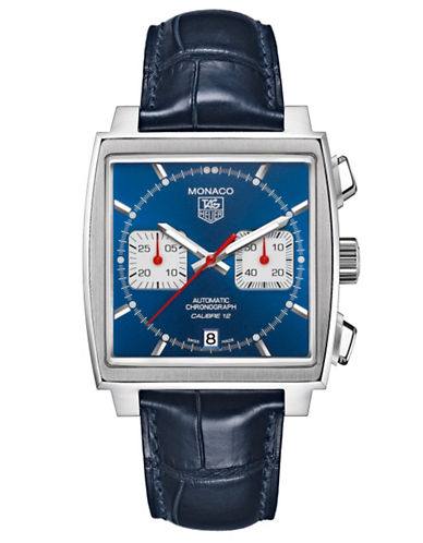 TAG HEUERMens Monaco Alligator Strap Blue Dial Watch