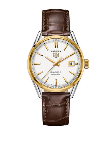 Mens Carrera Calibre 5 Automatic Two Tone and Leather Watch
