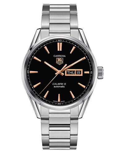 TAG HEUER Mens Carrera Stainless Steel Calibre 5 Day-Date Watch