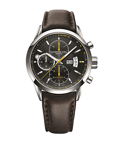 RAYMOND WEILMen's Stainless Steel Mechanical Chronograph Watch with Leather Strap
