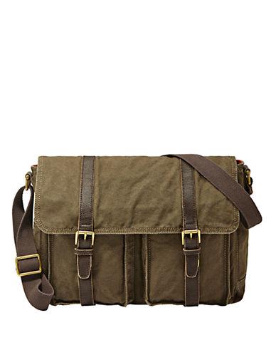 FOSSILLeather-Trimmed East/West Messenger Bag
