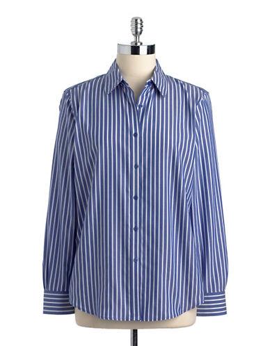 JONES NEW YORK PETITESPetite Striped Button-Down Cotton Shirt