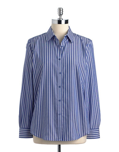 JONES NEW YORK PLUSPlus Striped Button-Down Cotton Shirt