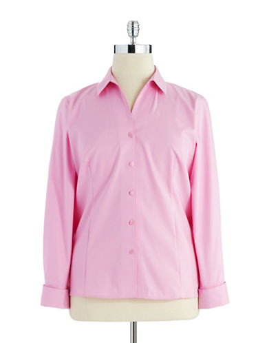 Jones New York Plus Plus Cotton Button-Down Shirt