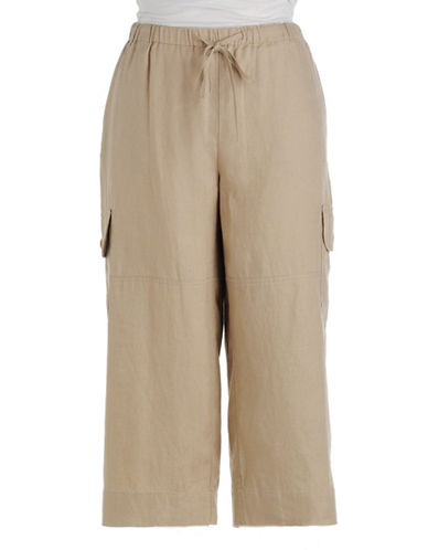 J JONES NEW YORK Linen Drawstring Cropped Cargo Pants