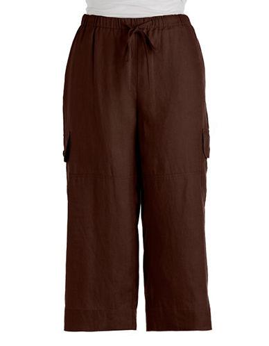 J JONES NEW YORKLinen Drawstring Cropped Cargo Pants