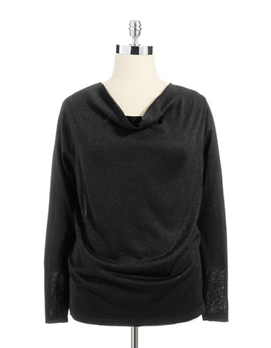 Jones New York Plus Plus Cowl Neck Sweater With Metallic Fibers