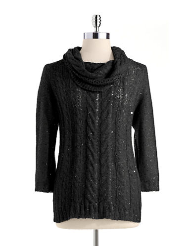 ANNE KLEIN Sequin Cowl Neck Sweater