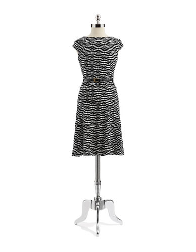 ANNE KLEIN Textured Fit and Flare Dress