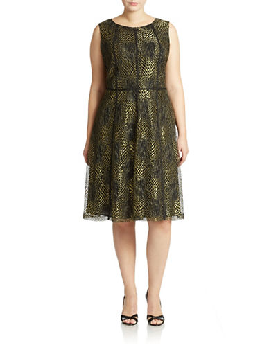 ANNE KLEINPlus Fit-and-Flare Cocktail Dress