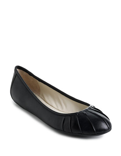 Buy Blustery Pleated Leather Ballet Flats by Nine West online