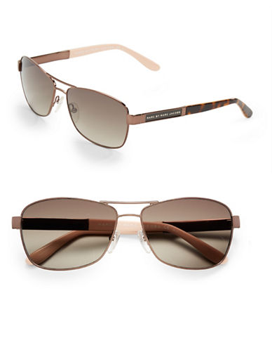 b0c55d674792 762753242372. Marc By Marc Jacobs 57mm, Two Toned Rectangular Aviator  Sunglasses