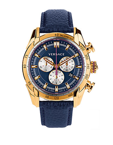VERSACE Mens V Ray Gold Tone and Navy Chronograph Watch