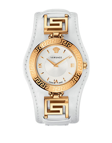 VERSACE Ladies Signature Gold-Tone Leather Watch