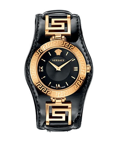 VERSACELadies V-Signature Gold-Tone and Black Watch
