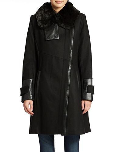 VIA SPIGAPetite Faux Fur-Collared Dress Coat