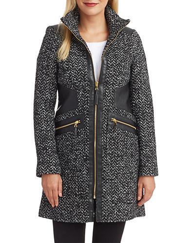 VIA SPIGAFaux Leather Accented Tweed Coat