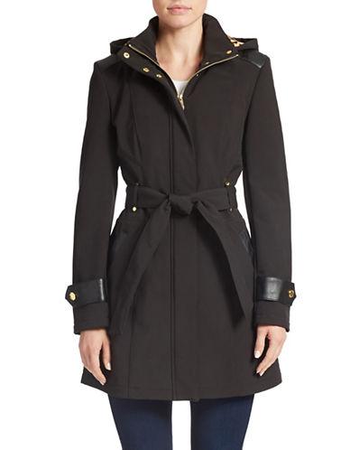 VIA SPIGAFaux-Leather Trim Belted Coat